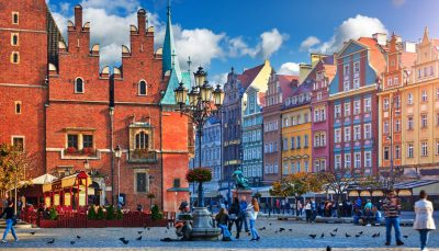 Central market square with old colourful houses in Wrocław, Poland