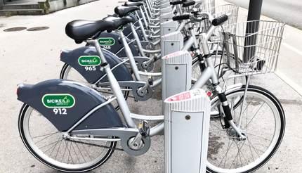 City rental bikes station, Ljubljana, Slovenia
