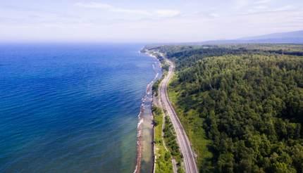 The railway track along Lake Baikal