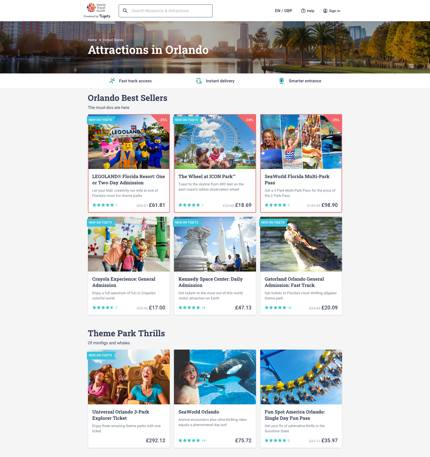 Screenshot of attractions in Orlando