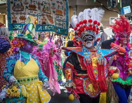 Participants in elaborate costumes