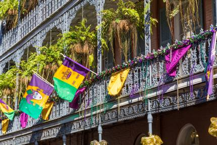 Buildings are decorated for Mardi Gras in New Orleans