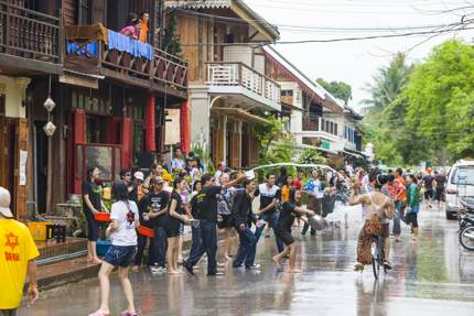 People throwing water as part of the New Year celebrations in Laos