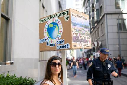 A climate change protest in San Francisco