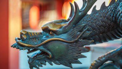 A dragon sculpture at Shitenno-ji Temple in Osaka
