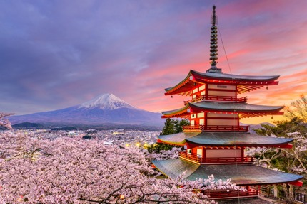 Chureito Pagoda with Mt Fuji in the distance