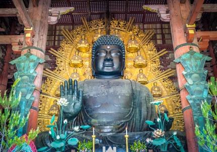 A large Buddha statue at Todai-ji, Nara