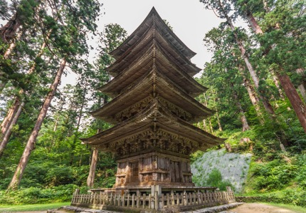 The five-storey pagoda on the way to the shrine atop Haguro-san