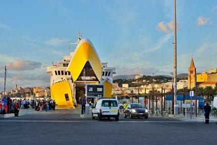 A ferry docks in Bastia