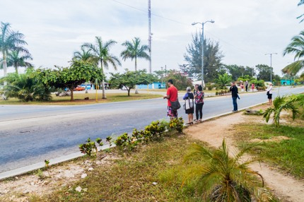 Hitchhikers in Cuba