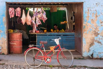 A butcher in Trinidad, Cuba