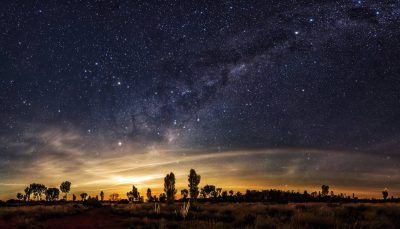 A night view in the Australian Outback