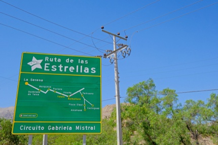 A road sign showing stargazing spots in Elqui Valley