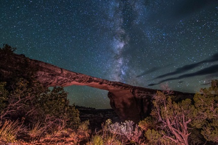 A night view in Natural Bridges National Monument