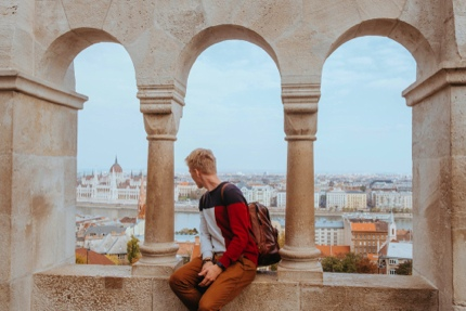 A tourist in Budapest, Hungary