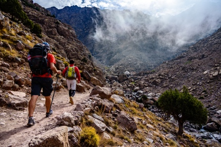 Hiking up Toubkal, the highest peak in the Atlas Mountains