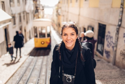 A tourist in Lisbon, Portugal