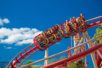 Riding a rollercoaster at Universal Studios Orlando