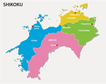 The map of Shikoku and its four prefectures
