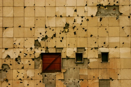 Bullet holes on a building in Sarajevo