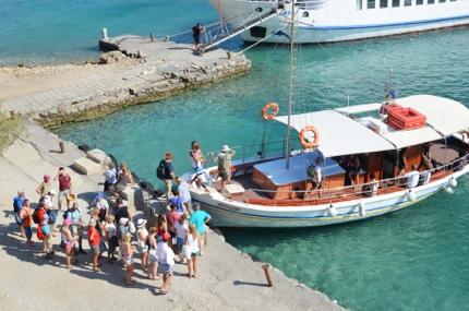 Tourists leaving Spinalonga