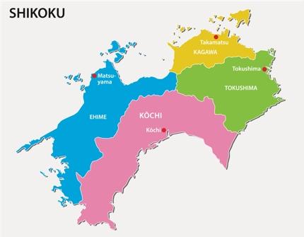 The map of Shikoku