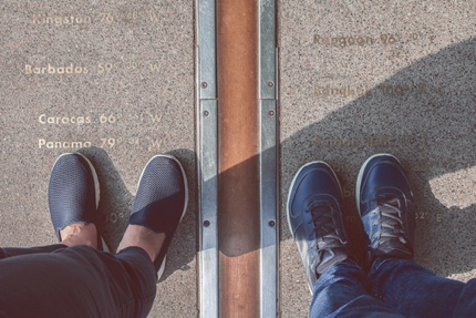 Standing on both sides of the Prime Meridian