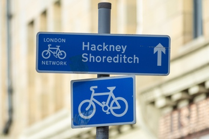 A sign to Hackney and Shoreditch