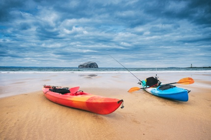 Two kayaks on the beach at North Berwick