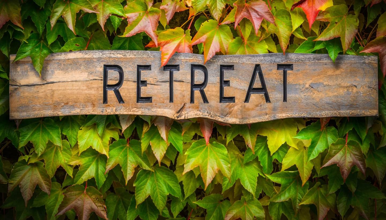 A retreat signage