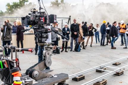 Film crew near Notre-Dame