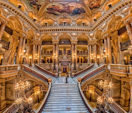The grand staircase in Le Palais Garnier