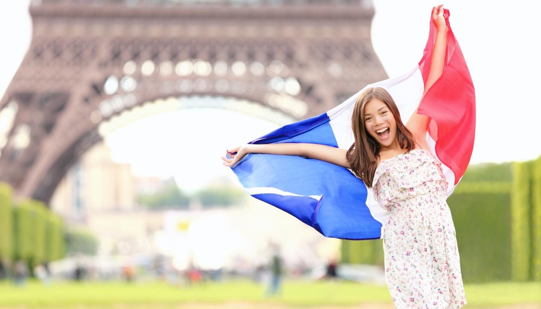 A happy tourist in Paris, France