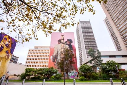 Buildings with huge murals